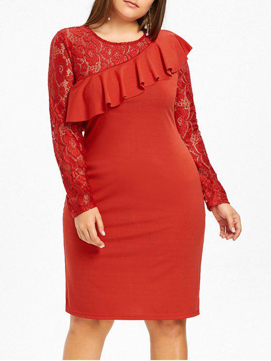 فستان الحجم الكبير كشكش دانتيل - أحمر 4XL