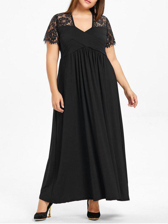 فستان طويل بمقاس كبير مزين بالدانتيل - أسود 2XL