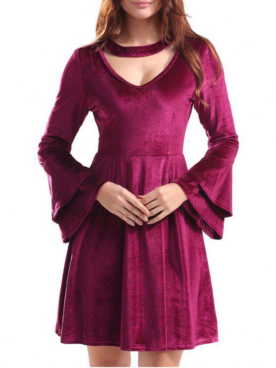 Mini abito in velluto a campana con chiusura a chiave - Vino rosso S