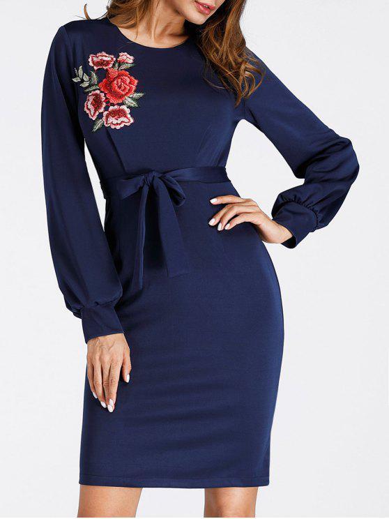 Puff Sleeve Mini vestido bordado com corpo - Azul Escuro XL