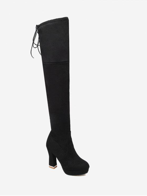 bf36bdf141c 38% OFF  2019 Tie Back Chunky Heel Thigh High Boots In BLACK