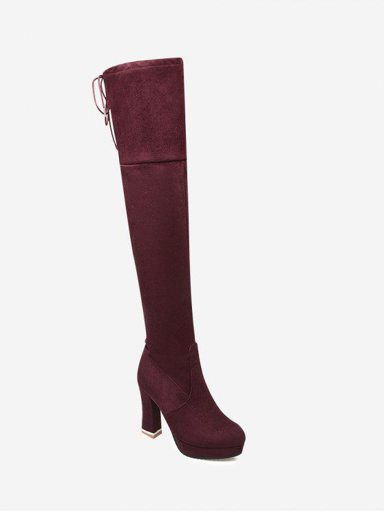 49f29906697 38% OFF  2019 Tie Back Chunky Heel Thigh High Boots In WINE RED