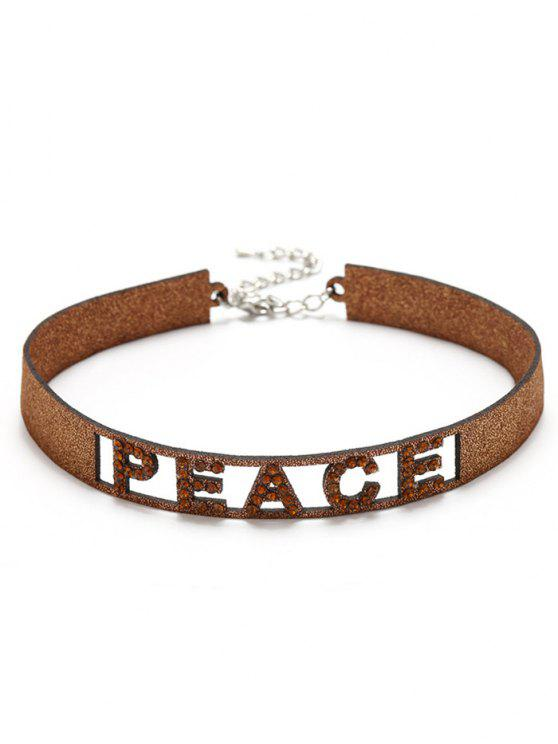 ladies Sparkly Rhinestoned Peace Choker Necklace - GOLDEN
