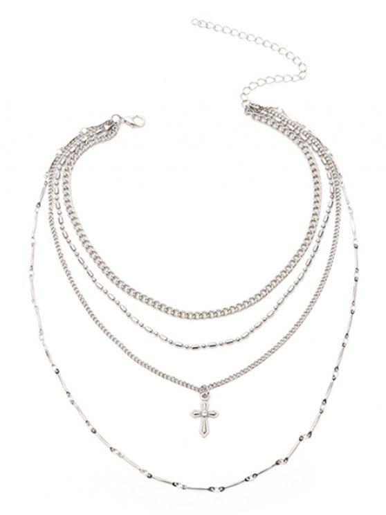 Collar colgante de cadena de crucifijo - Plata