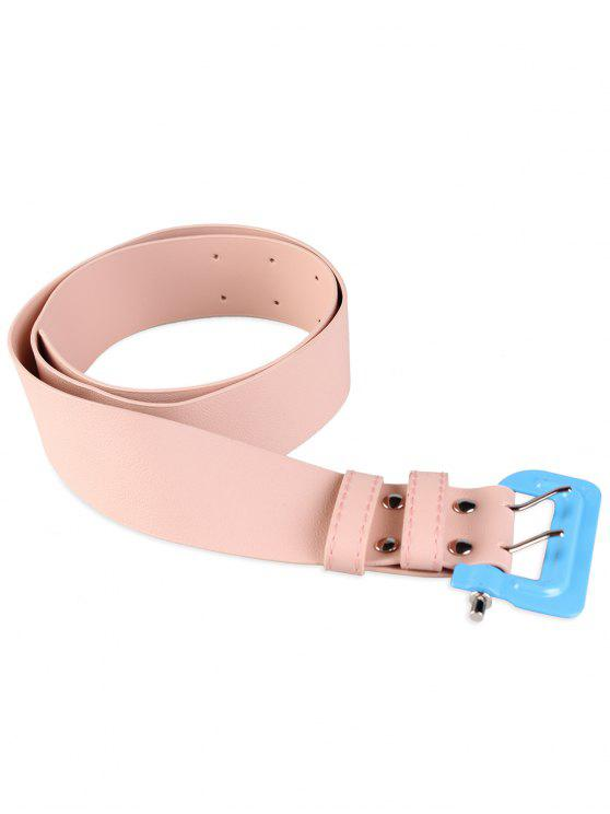 hot Funny Lock Shape Buckle Faux Leather Waist Belt - PINK