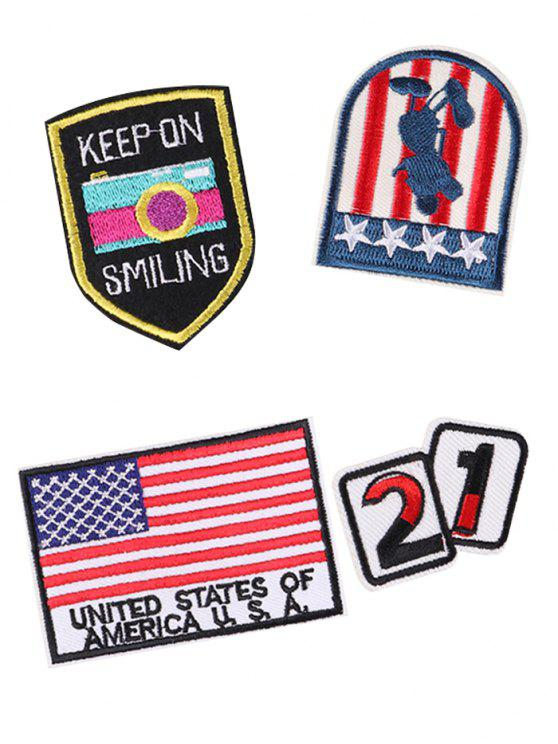 Parches bordados con diseños de estrellas de la bandera americana - Colores Mezclados