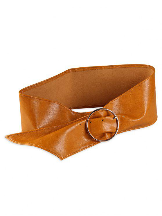 online Metal Round Buckle Faux Leather High Waist Belt - BROWN