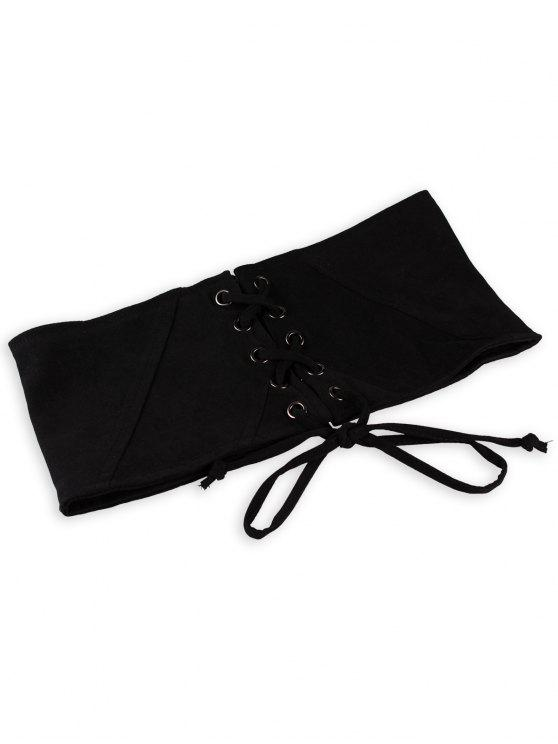 shops Vintage Lace Up Corset Bandage High Waist Belt - BLACK