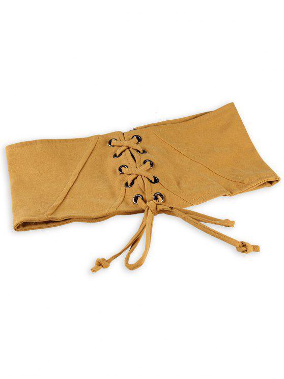 Vintage Lace Up Corset Ceinture haute ceinture - Jaune