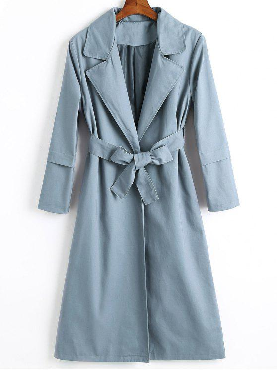 unique Longline Skirted Belted Trench Coat - STONE BLUE S