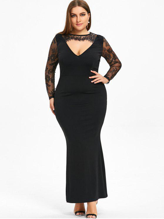 be87797131b41 فستان طويل بقصة ضيقة وأكمام من الدانتيل ذو بمقاس كبير - أسود 5XL