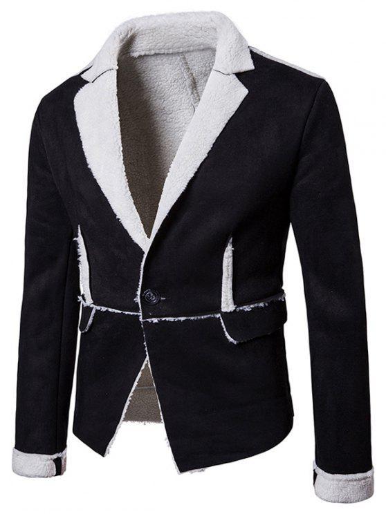 Chaqueta de piel sintética con cuello de solapa y un botón - Negro L