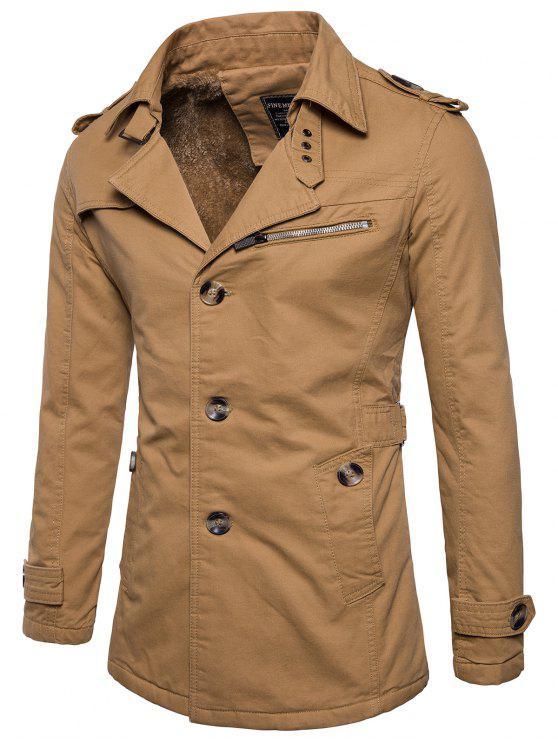 Pelzbesetzte Einreihige Jacke mit Reißverschluss - Dunkles Khaki 2XL