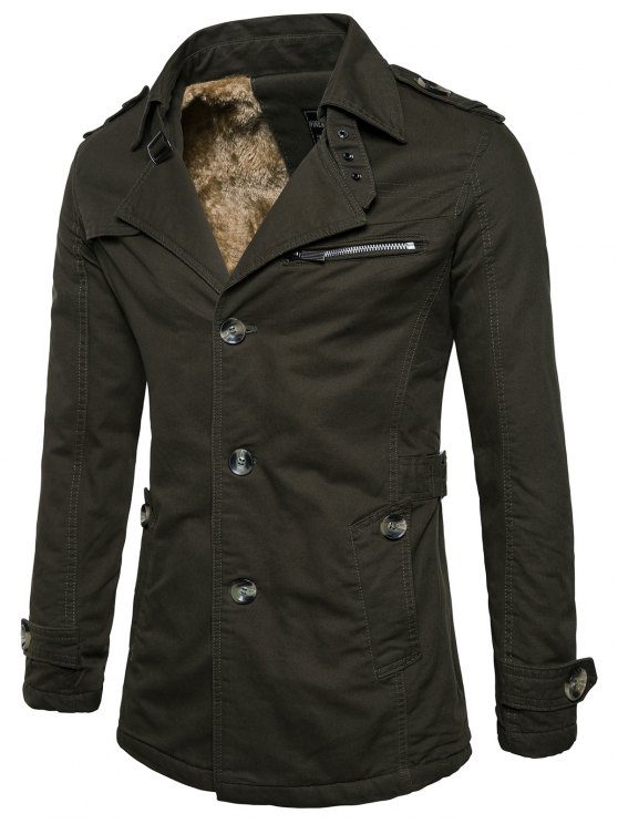 shop Fur-lined Zip Insert Single Breasted Jacket - ARMY GREEN XL