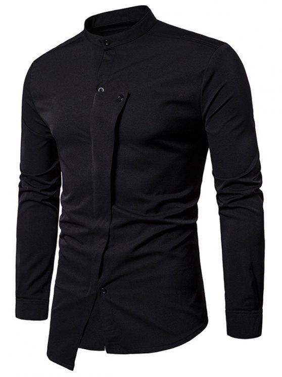 Camicia Asimmetrica Con Bottoni Irregolare E Colletto Alla Coreana - Nero L