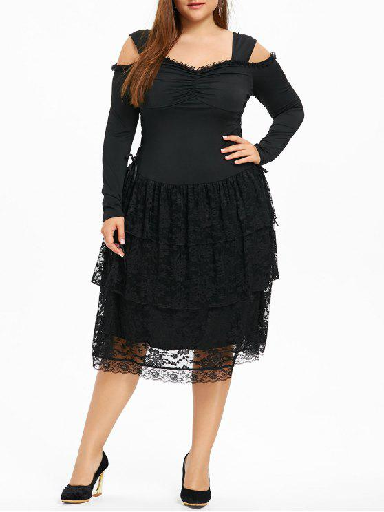 Plus Size Cold Shoulder Layered Gothic Dress