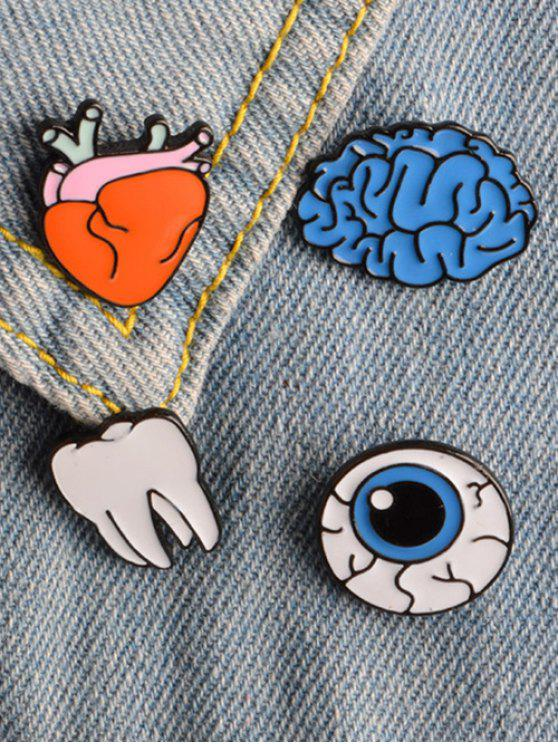 buy Funny Eye Teeth Brain Brooch Set - COLORMIX