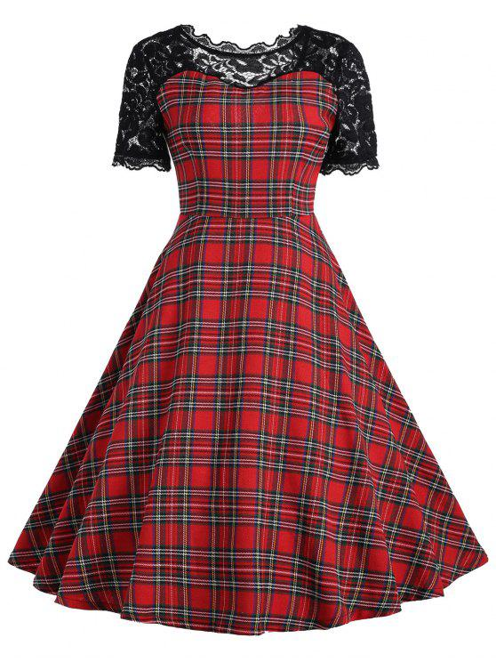 lady Vintage Lace Panel Tartan Dress - RED WITH BLACK S