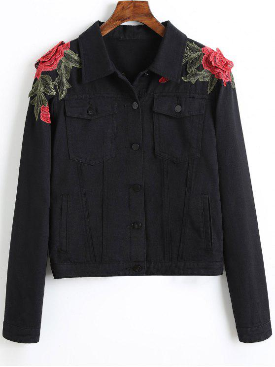 fashion Denim Floral Embroidered Patches Jacket - BLACK M