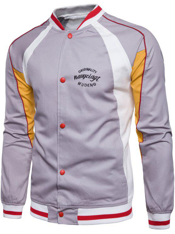 fashion Embroidered Graphic Baseball Jacket - GRAY 3XL