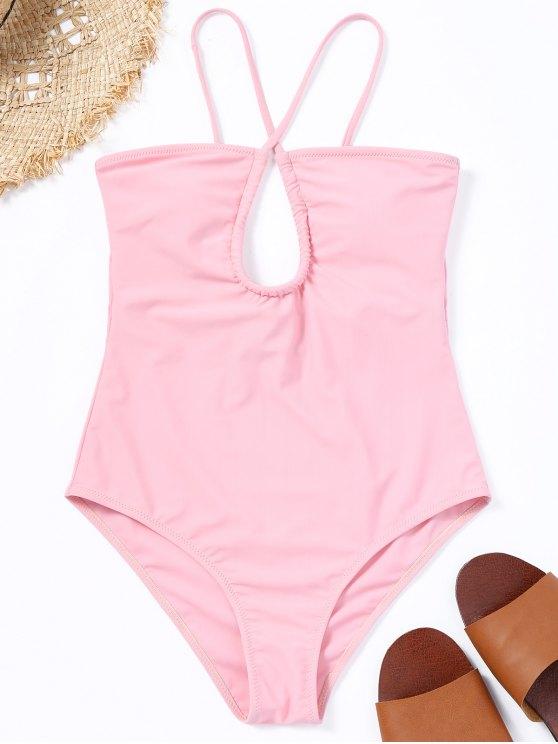 قطع انقطاع قطعة واحدة ملابس السباحة - زهري S