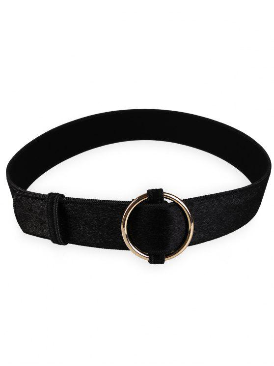 fashion Metal Round Buckle Embellished Ladies Waist Belt - BLACK