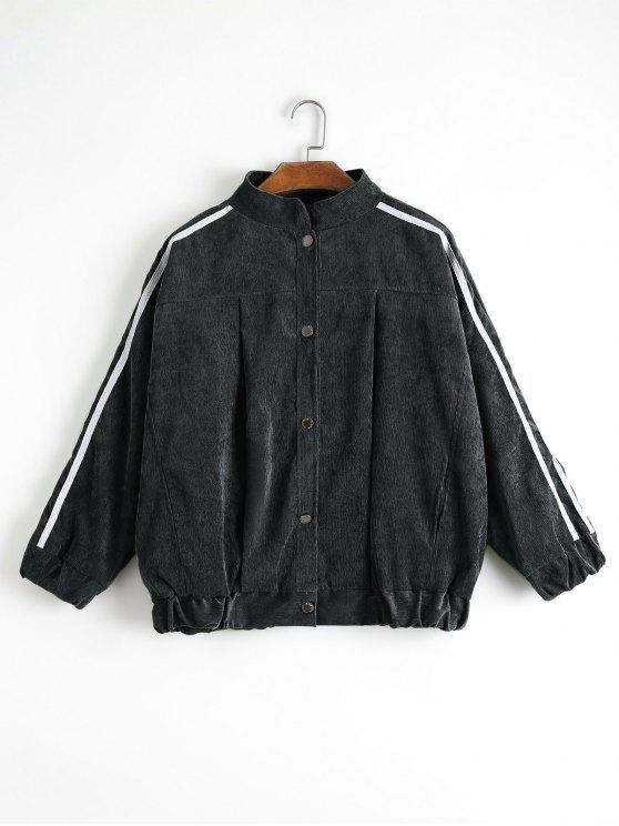 lady Contrast Stripe Corduroy Jacket - BLACK L