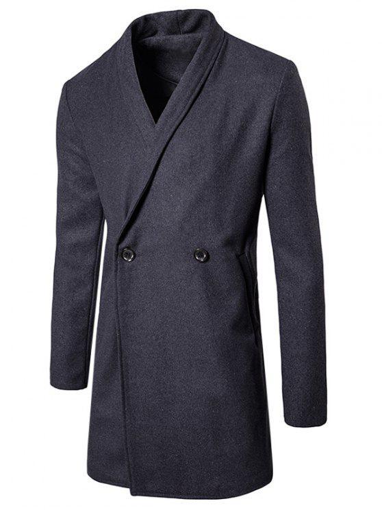 fashion Two Button Shawl Collar Wool Blend Coat - GRAY M