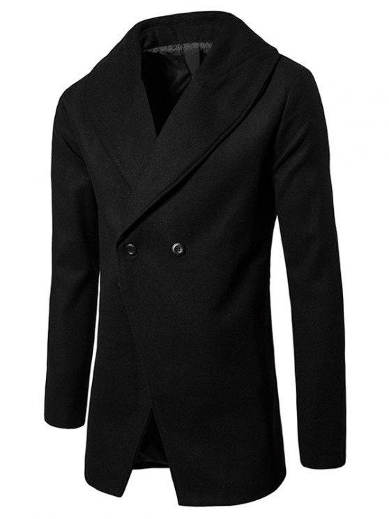 Cappotto Con Colletto A Scialle E Bottone Convertibile Di Lana Mista - Nero XL