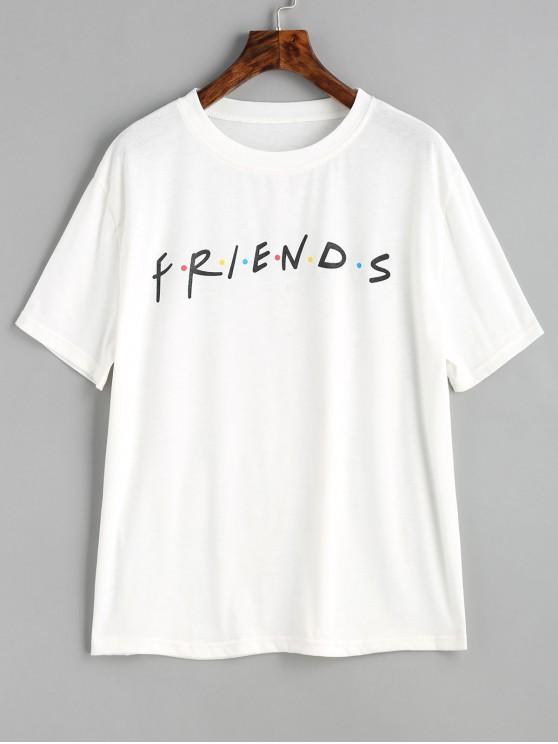 shops Contrasting Dots Letter T Shirt - WHITE S