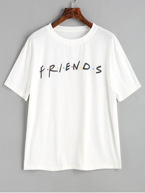 fashion Contrasting Dots Letter Graphic T Shirt - WHITE XL