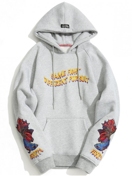 Sudadera con capucha de gran tamaño bordada en bolsillo de canguro para hombres - Gris M