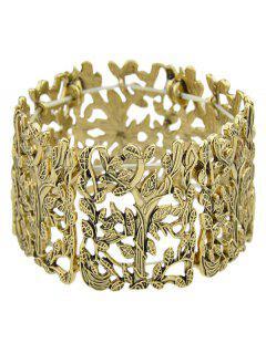 Alloy Elastic Leaf Bracelet - Golden