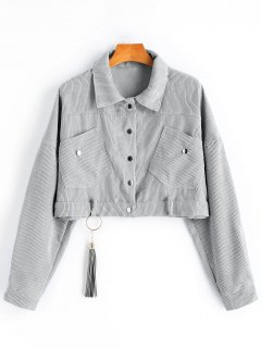 Ribbed Cropped Corduroy Jacket - Gray