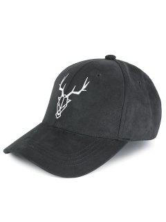 Elk Head Embellished Faux Suede Baseball Hat - Dark Gray