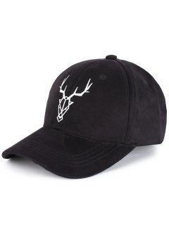Elk Head Embellished Faux Suede Baseball Hat - Black