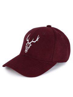 Elk Head Embellished Faux Suede Baseball Hat - Wine Red