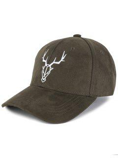 Elk Head Embellished Faux Suede Baseball Hat - Army Green