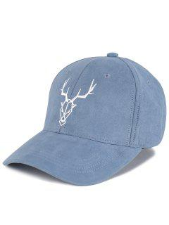 Elk Head Embellished Faux Suede Baseball Hat - Stone Blue