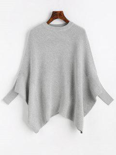 Plain Crew Neck Cape Sweater - Gray