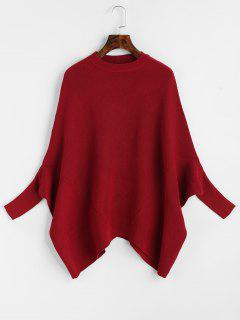 Plain Crew Neck Cape Sweater - Wine Red