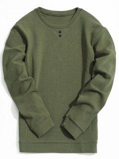 Mens Textured Sweatshirt - Army Green L