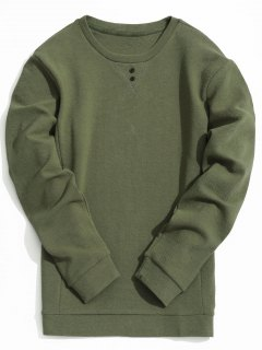 Mens Textured Sweatshirt - Army Green M