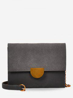 Metallic Crossbody Bag With Chain - Gray