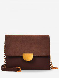 Metallic Crossbody Bag With Chain - Deep Brown