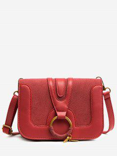 PU Leather Round Ring Crossbody Bag - Red