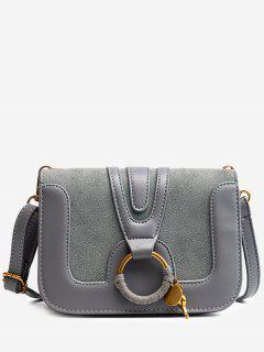 PU Leather Round Ring Crossbody Bag - Gray