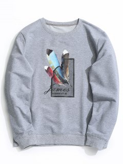 Feather Graphic Crew Neck Sweatshirt - Gray Xl