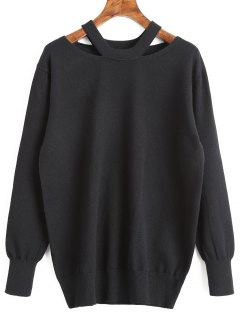 Pullover Cut Out Tunic Sweater - Black L