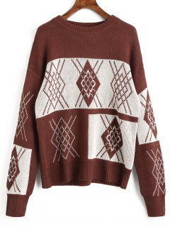 Crew Neck Argyle Pattern Sweater - Dark Auburn